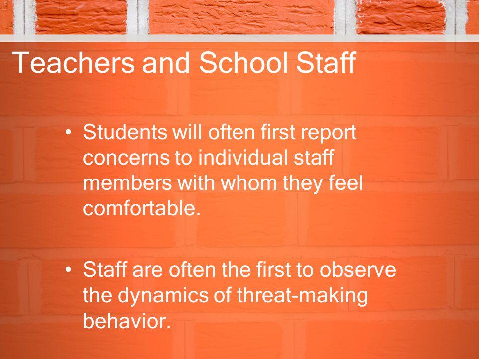 Teachers and School Staff