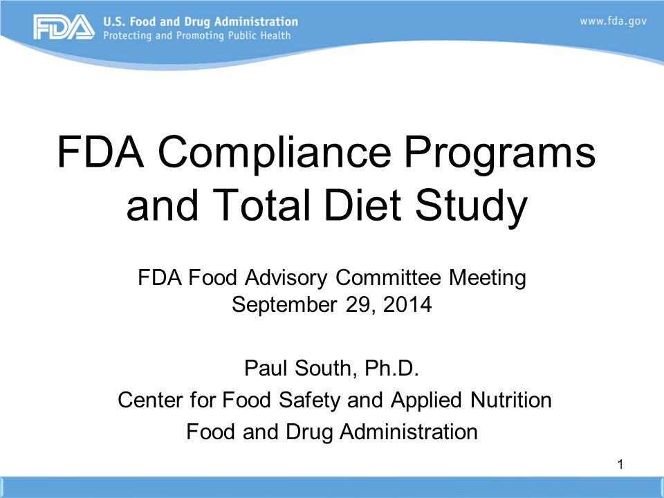 FDA Compliance Programs and Total Diet Study