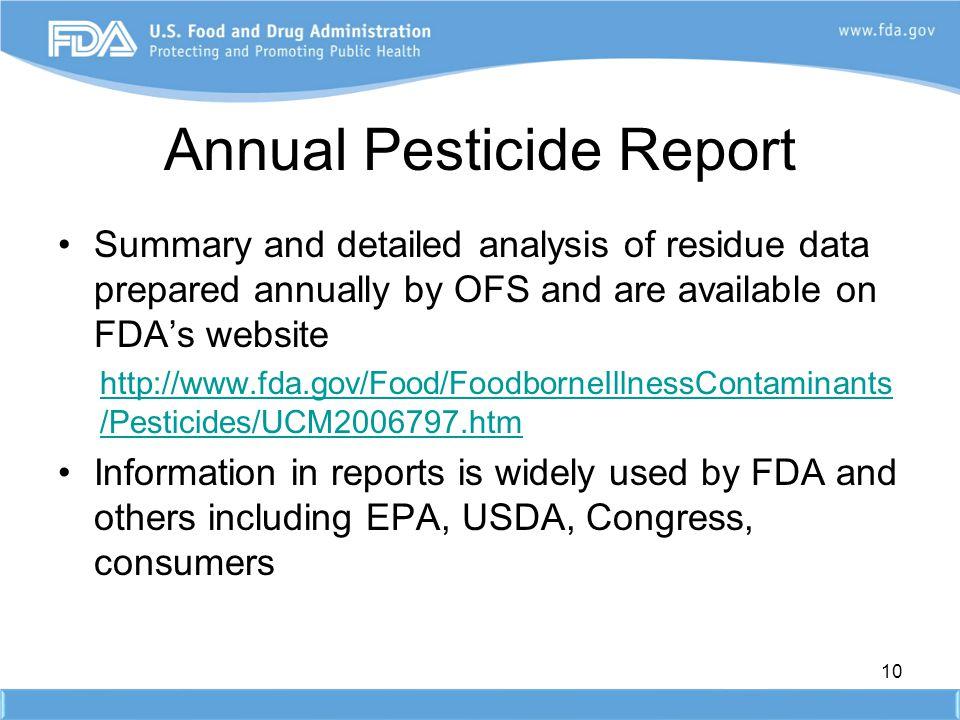 Annual Pesticide Report