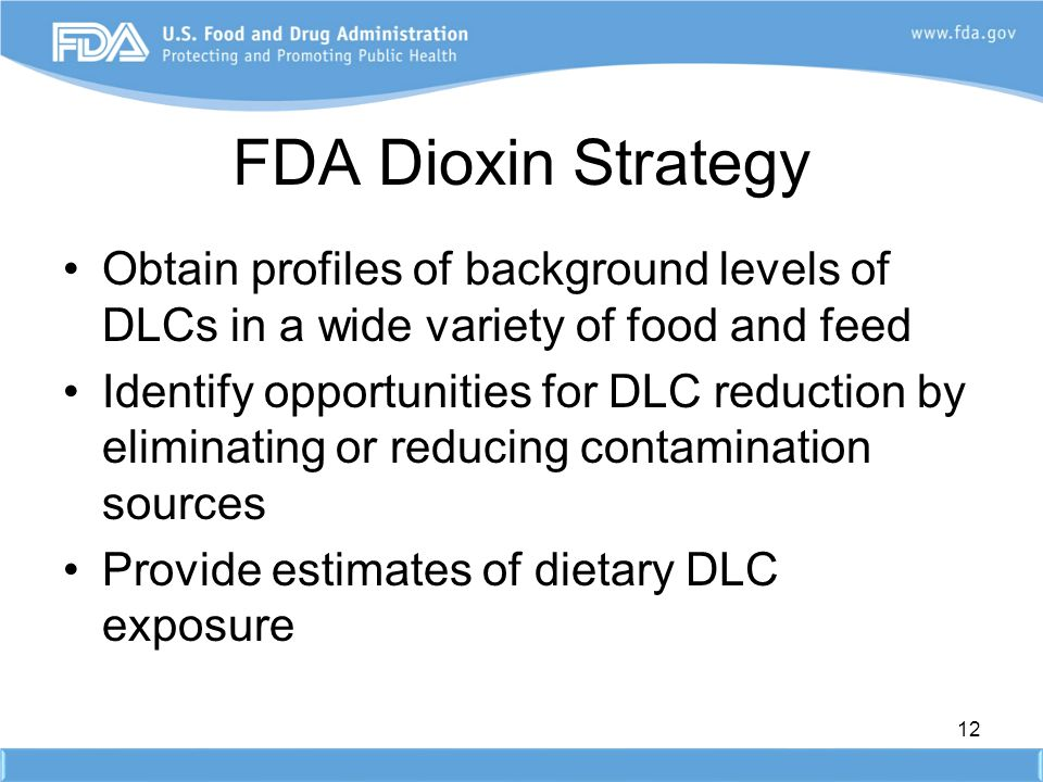 FDA Dioxin Strategy Obtain profiles of background levels of DLCs in a wide variety of food and feed.