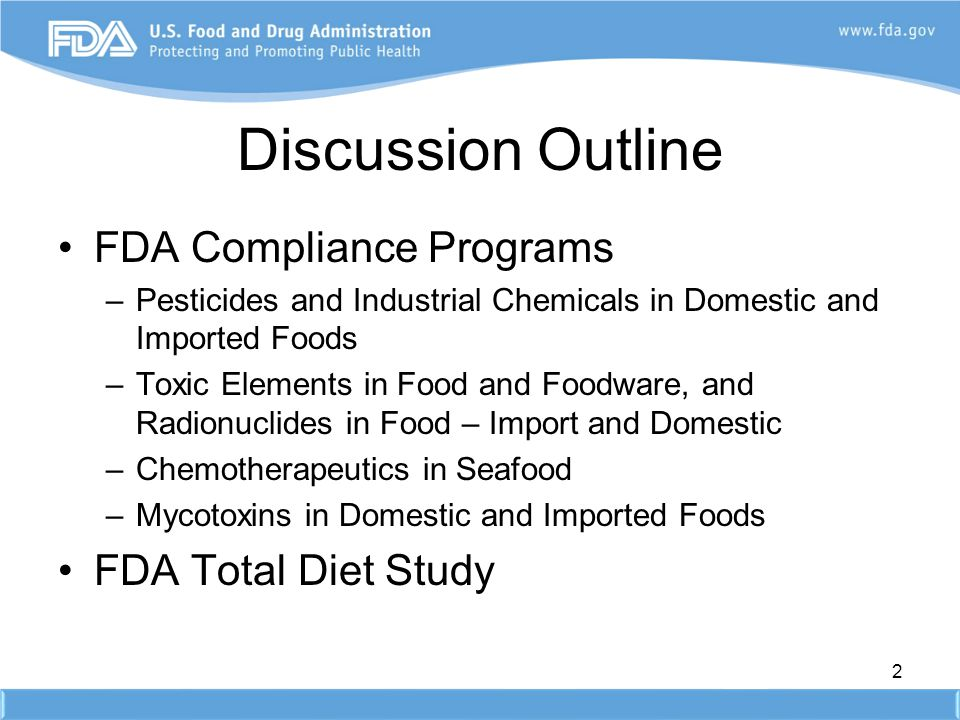 Discussion Outline FDA Compliance Programs FDA Total Diet Study