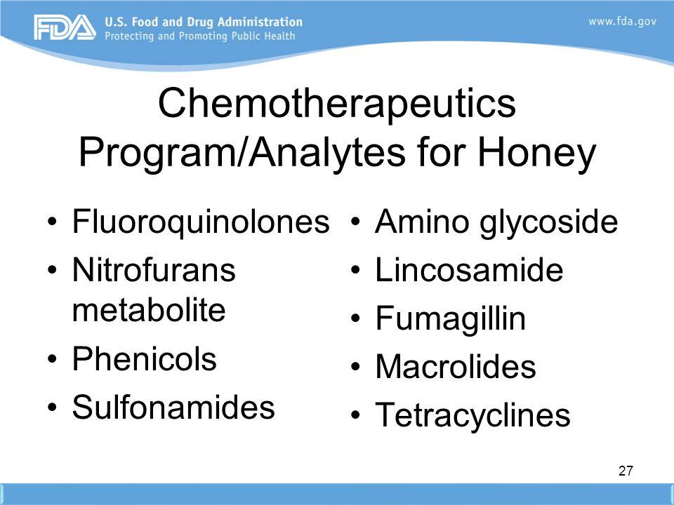Chemotherapeutics Program/Analytes for Honey