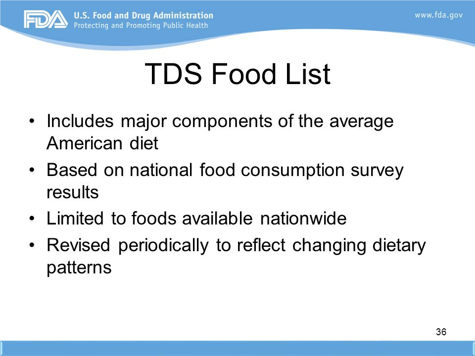TDS Food List Includes major components of the average American diet