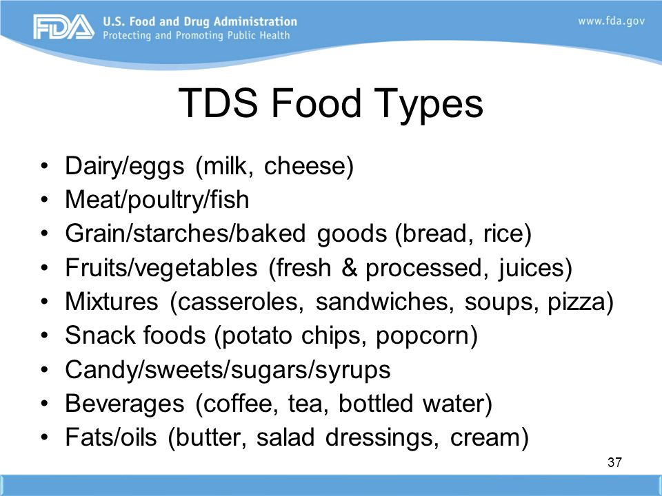 TDS Food Types Dairy/eggs (milk, cheese) Meat/poultry/fish