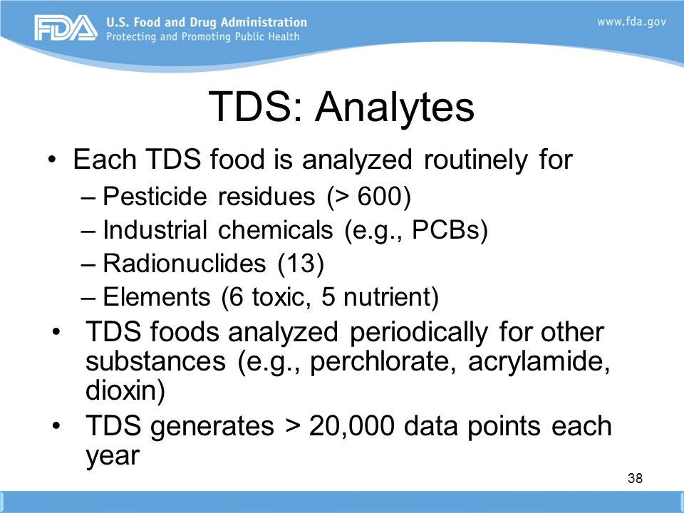 TDS: Analytes Each TDS food is analyzed routinely for