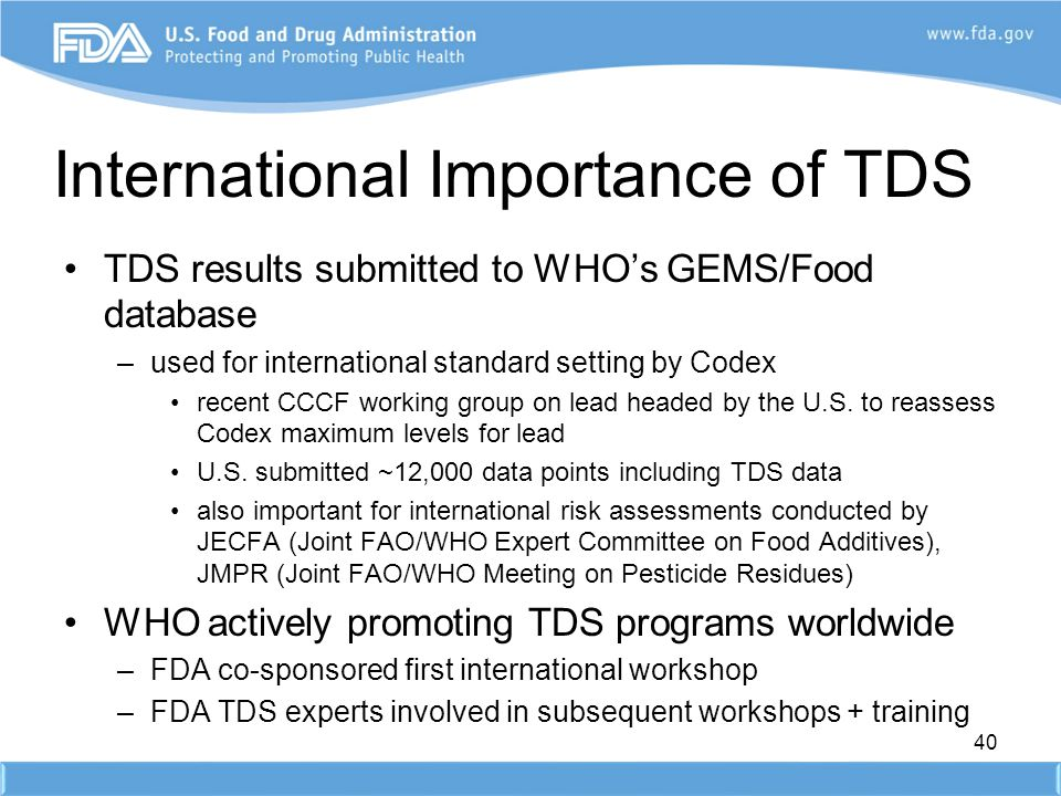 International Importance of TDS
