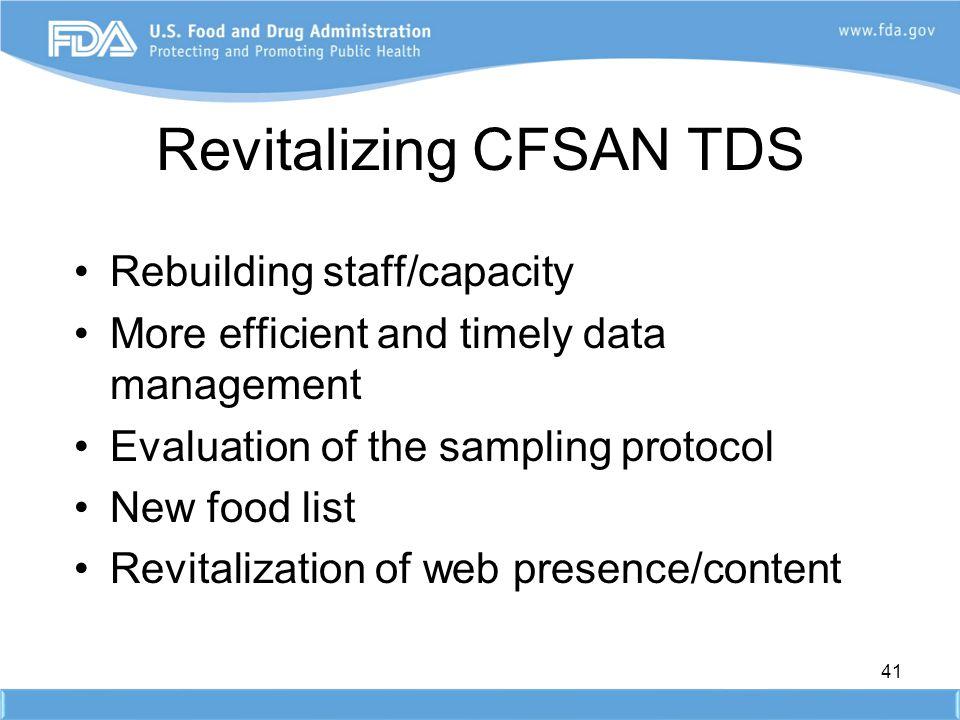 Revitalizing CFSAN TDS