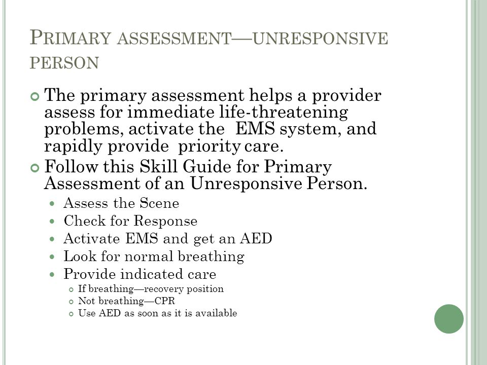 Primary assessment—unresponsive person