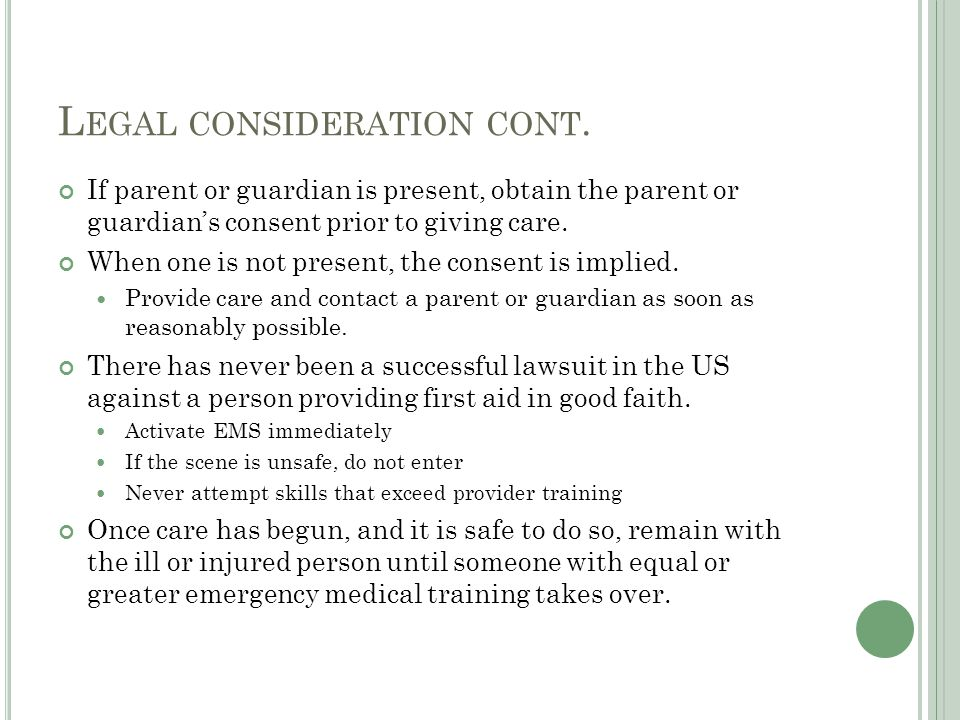 Legal consideration cont.