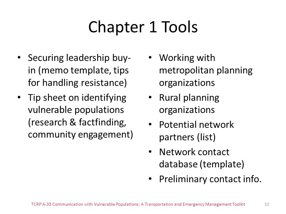 Chapter 1 Tools Securing leadership buy-in (memo template, tips for handling resistance)
