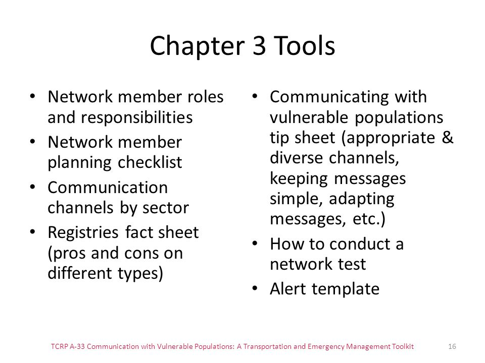 Chapter 3 Tools Network member roles and responsibilities