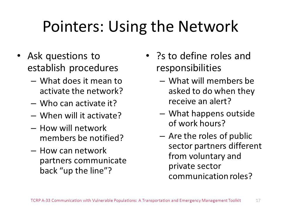 Pointers: Using the Network