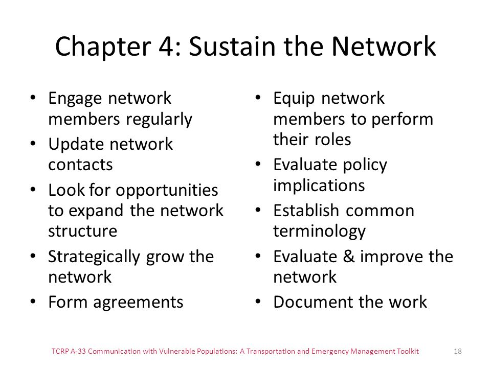 Chapter 4: Sustain the Network