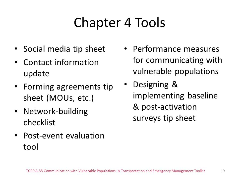 Chapter 4 Tools Social media tip sheet