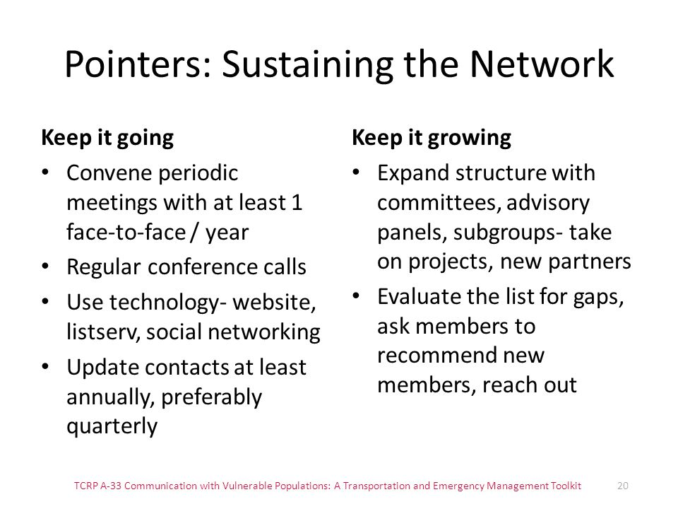 Pointers: Sustaining the Network