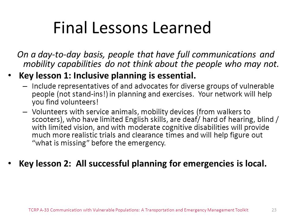 Final Lessons Learned