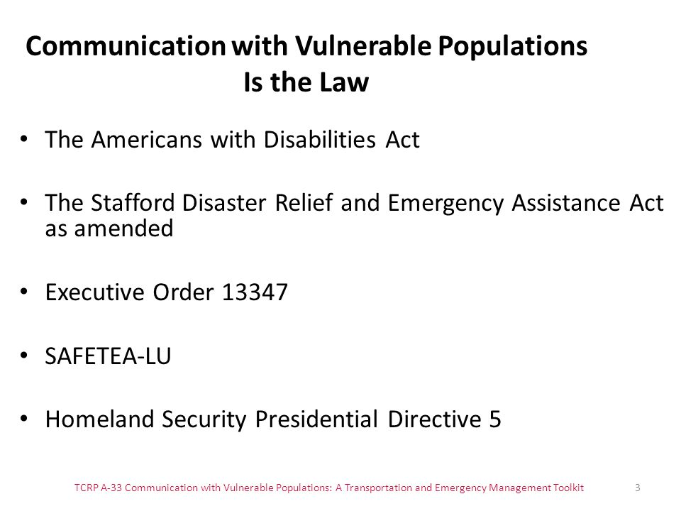 Communication with Vulnerable Populations Is the Law