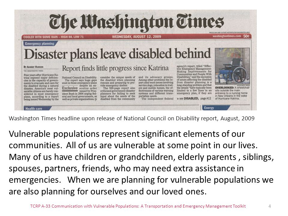 Washington Times headline upon release of National Council on Disability report, August, 2009