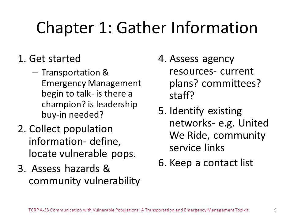 Chapter 1: Gather Information