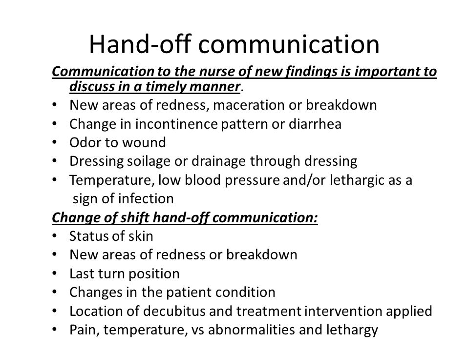 Hand-off communication