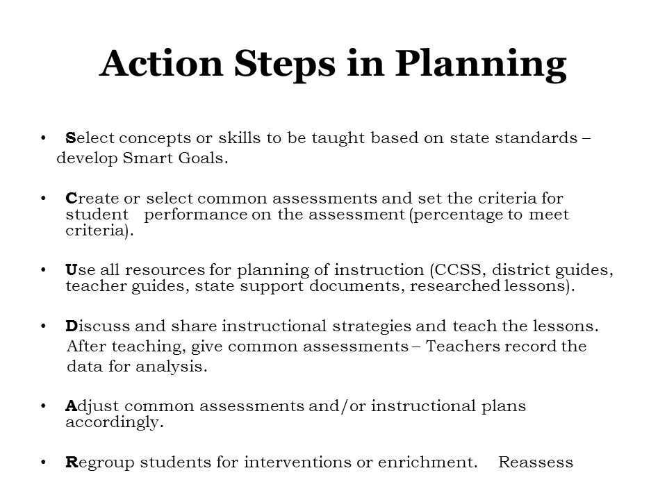 Action Steps in Planning