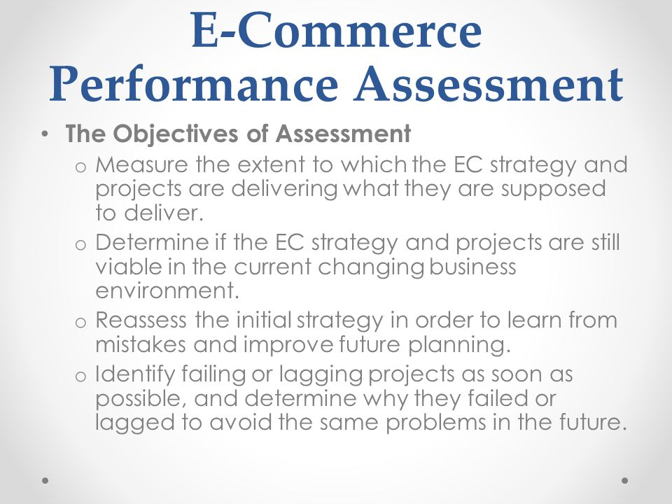 E-Commerce Performance Assessment