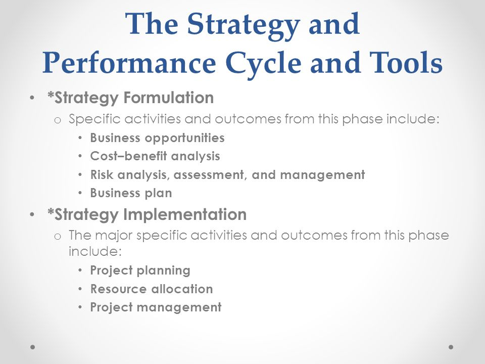 The Strategy and Performance Cycle and Tools