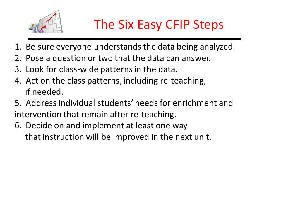 The Six Easy CFIP Steps 1. Be sure everyone understands the data being analyzed. 2. Pose a question or two that the data can answer.
