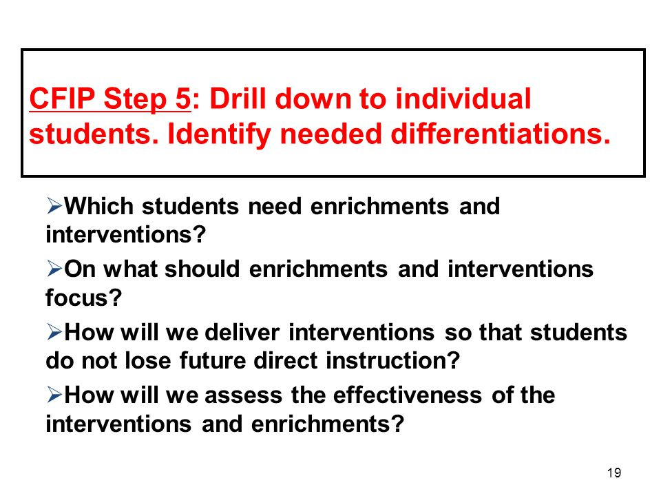 CFIP Step 5: Drill down to individual students