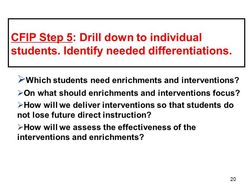 Which students need enrichments and interventions