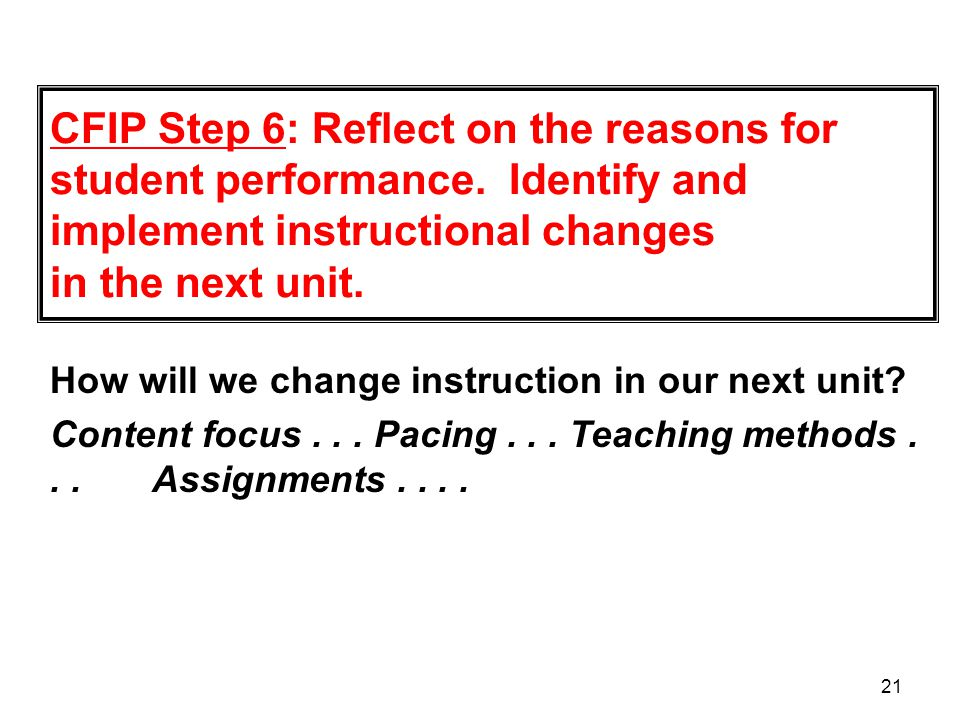 CFIP Step 6: Reflect on the reasons for student performance