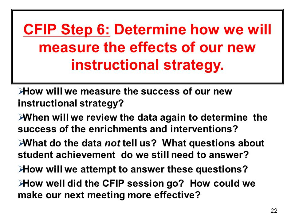 CFIP Step 6: Determine how we will measure the effects of our new instructional strategy.
