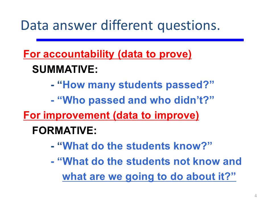 Data answer different questions.