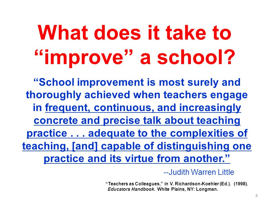 What does it take to improve a school