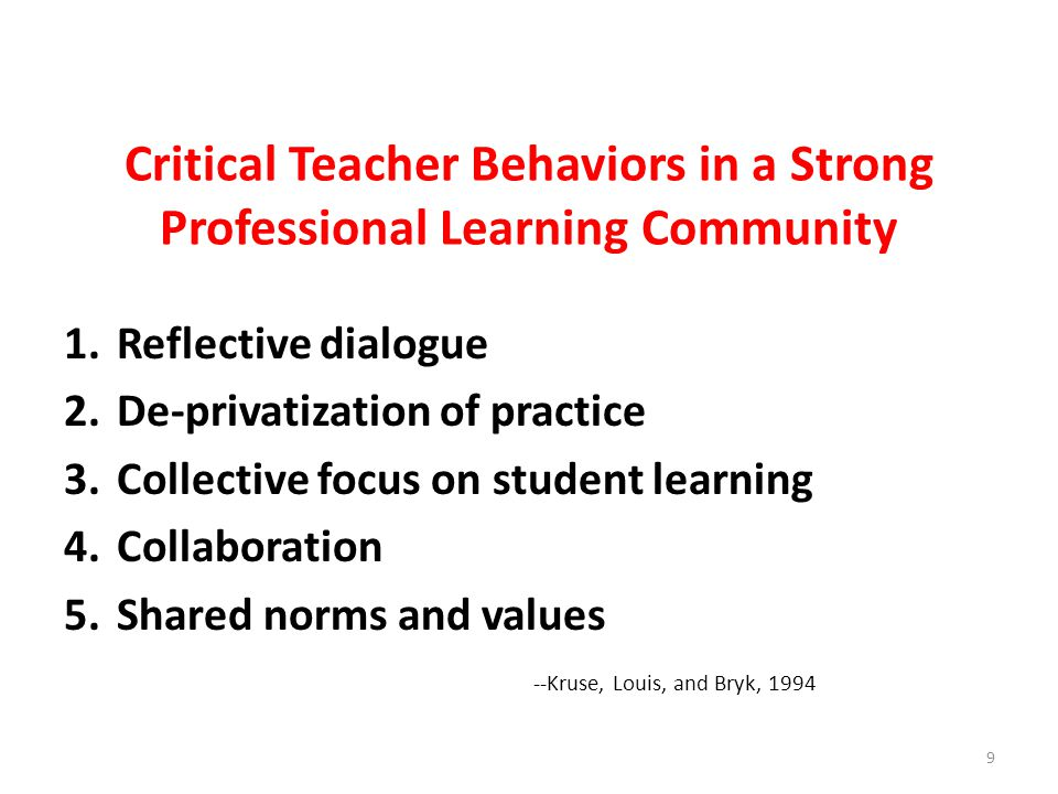 Critical Teacher Behaviors in a Strong Professional Learning Community