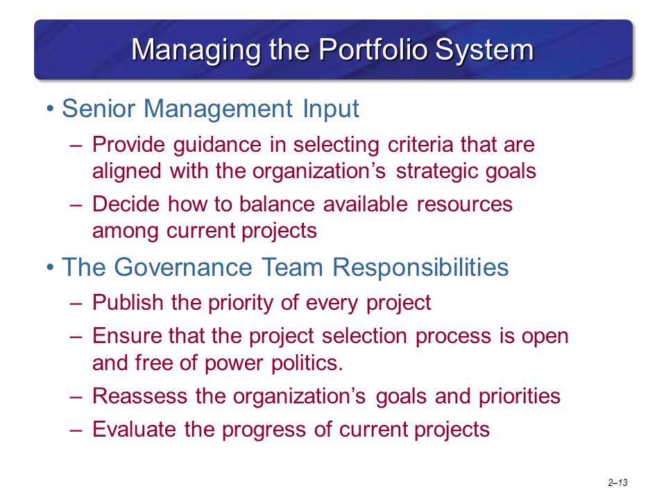 Managing the Portfolio System