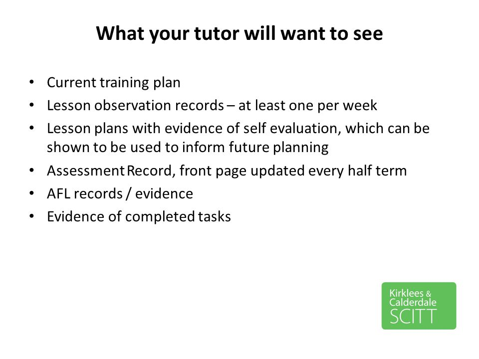 What your tutor will want to see
