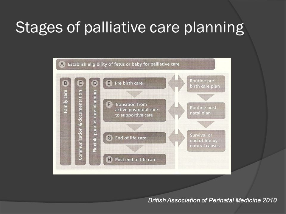 Stages of palliative care planning