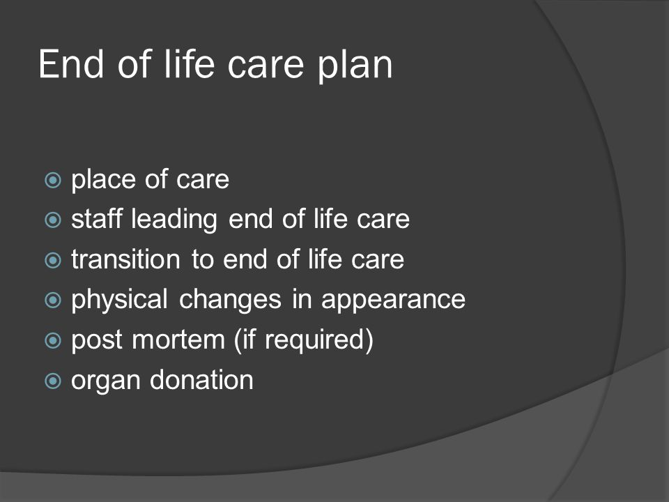 End of life care plan place of care staff leading end of life care
