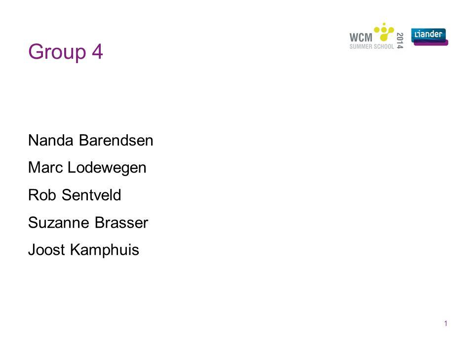 Group 4 Nanda Barendsen Marc Lodewegen Rob Sentveld Suzanne Brasser Joost Kamphuis