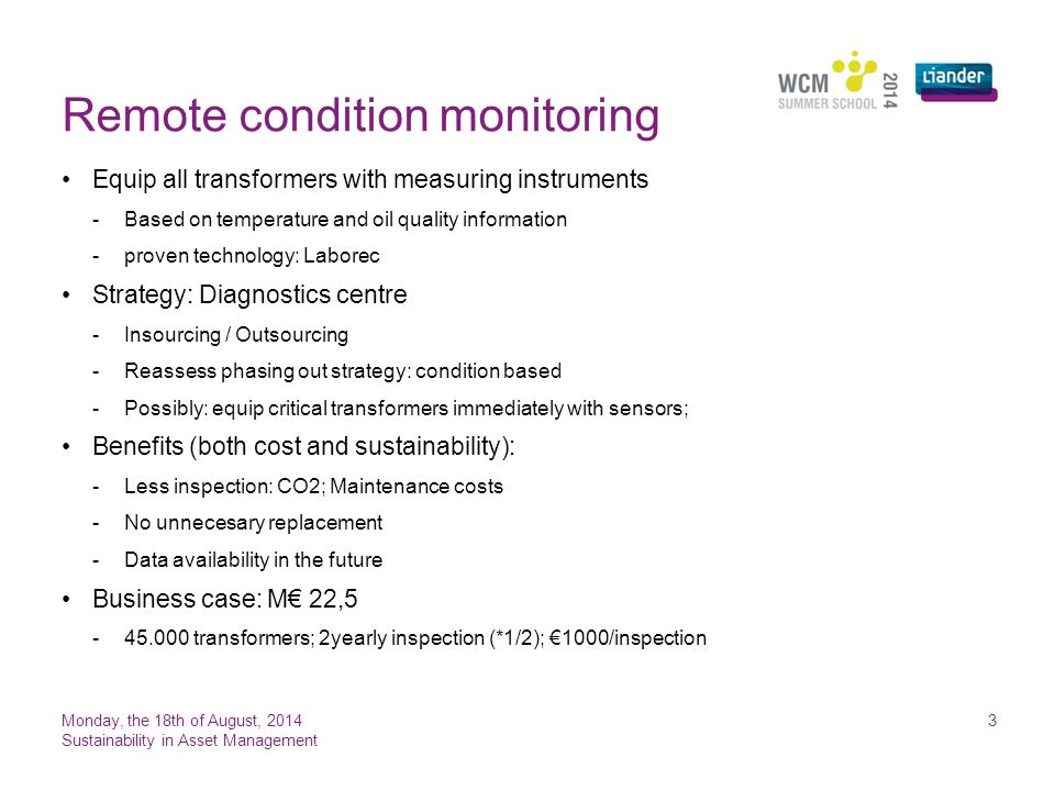 Remote condition monitoring