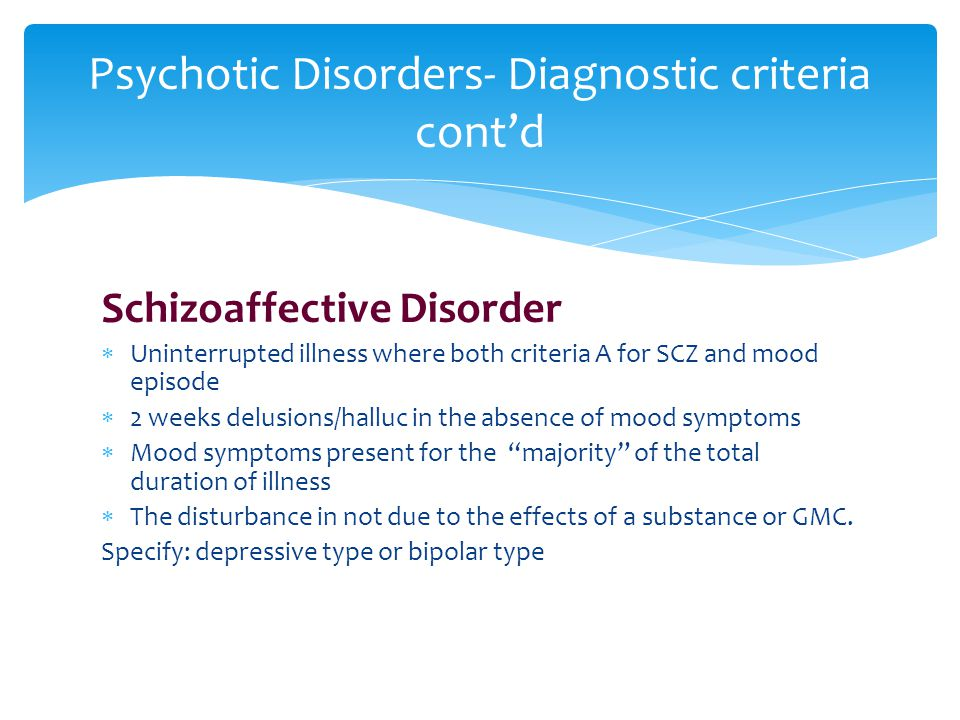 Psychotic Disorders- Diagnostic criteria cont'd