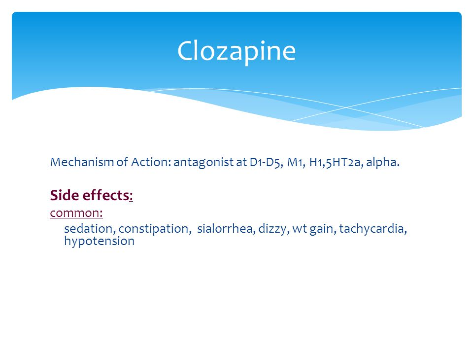 Clozapine Side effects: