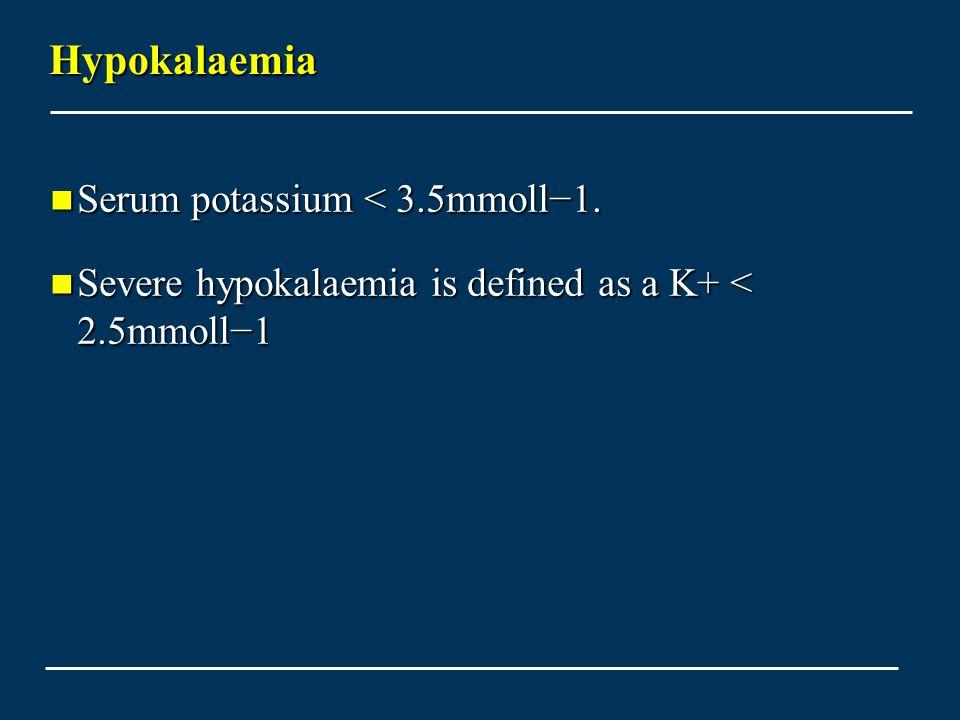 Hypokalaemia Serum potassium < 3.5mmoll−1.