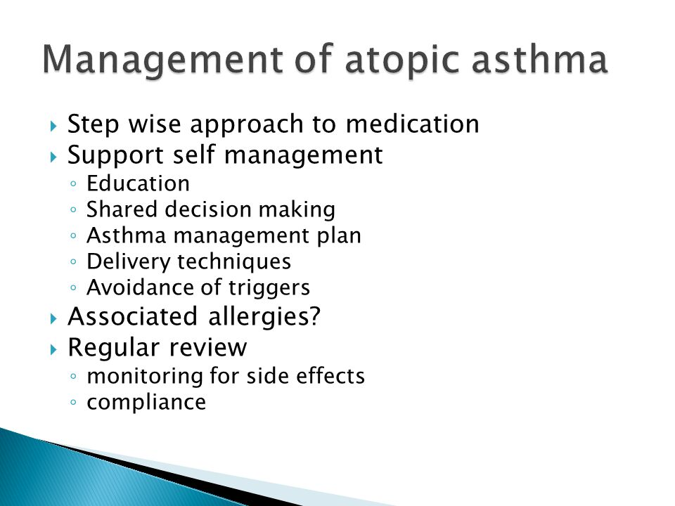 Management of atopic asthma