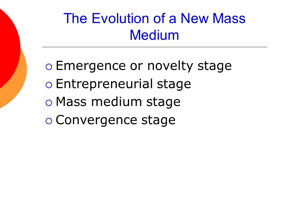 The Evolution of a New Mass Medium