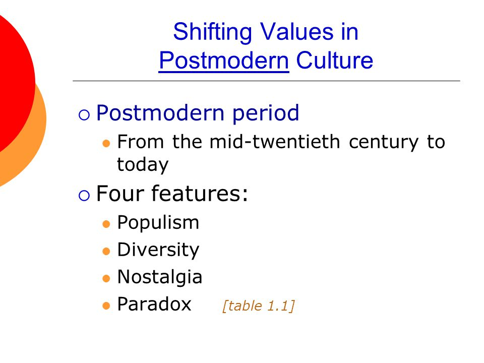Shifting Values in Postmodern Culture