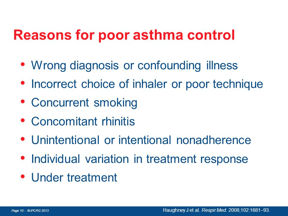 Reasons for poor asthma control