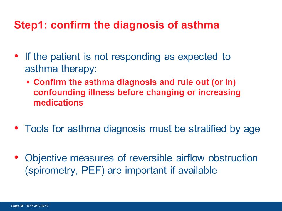 Step1: confirm the diagnosis of asthma