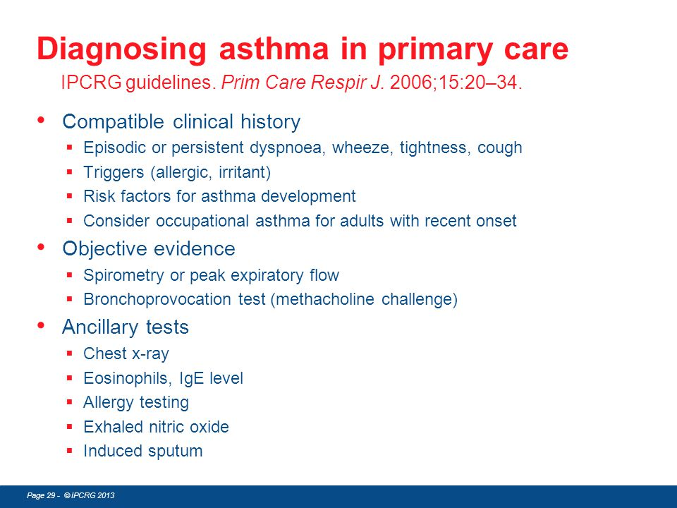 Diagnosing asthma in primary care IPCRG guidelines. Prim Care Respir J